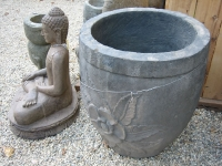 hand carved stone pot