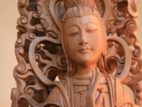 hand carved wood quan yin sculpture