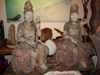 hand carved antique quan yin statues - 1800s china